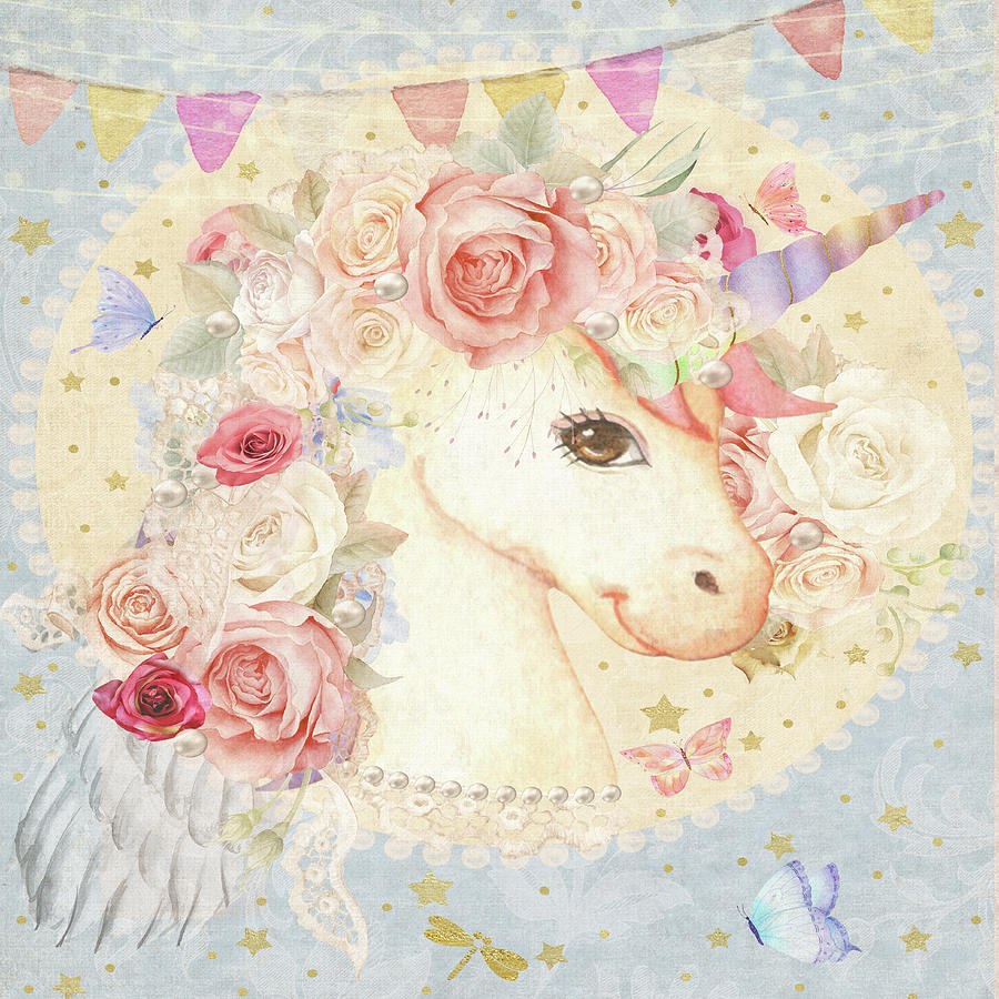 Unicorn Digital Art - Miss Lolly Unicorn by Pink Forest Cafe