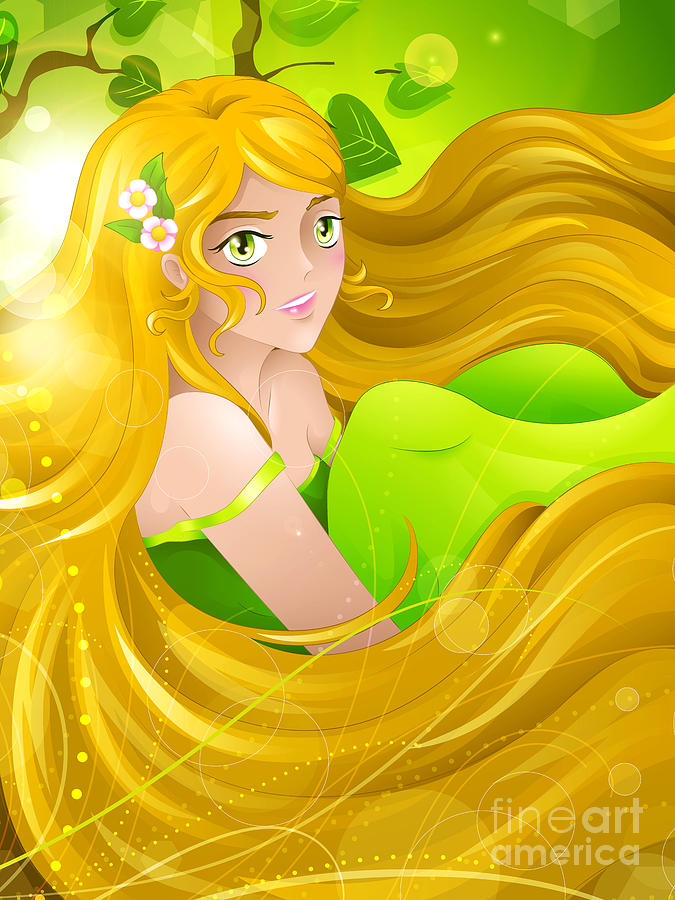 Manga Digital Art - Miss Spring-breeze by Sandra Hoefer