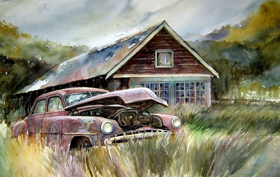 Car House Painting - Miss Wilsons House by Ron  Morrison