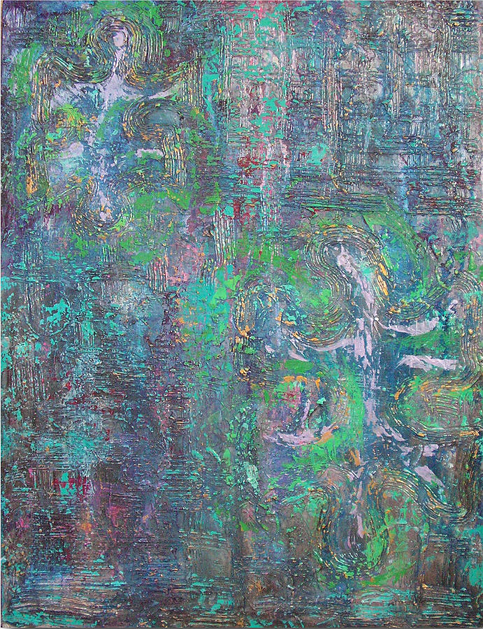 Missing Pieces I Textured Metallic Abstract Acrylic Painting Blue Lavender Purple Green Gold