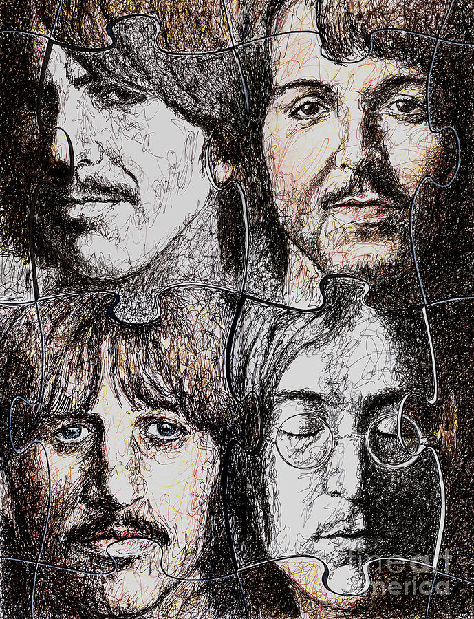 Beatles Drawing - Missing Pieces by Maria Arango
