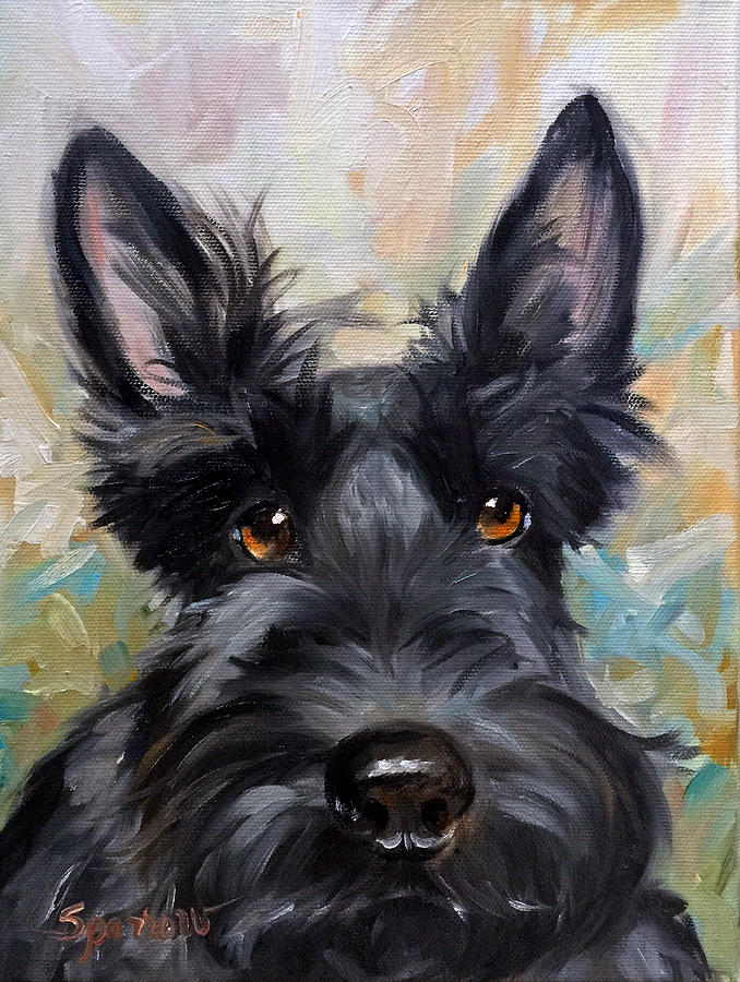 Scottie Painting - Missing You by Mary Sparrow
