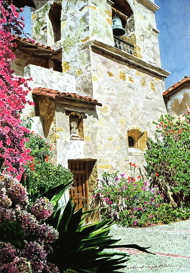 Watercolor Painting - Mission Carmel Bell Tower by David Lloyd Glover