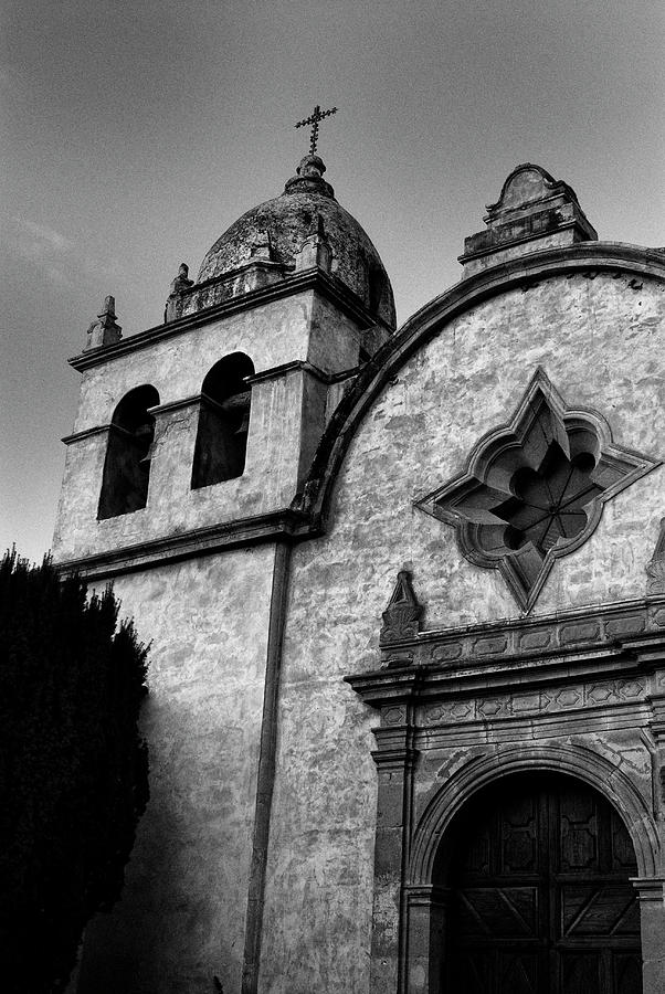 Mission Carmel Bell Tower in black and white by Renee Hong