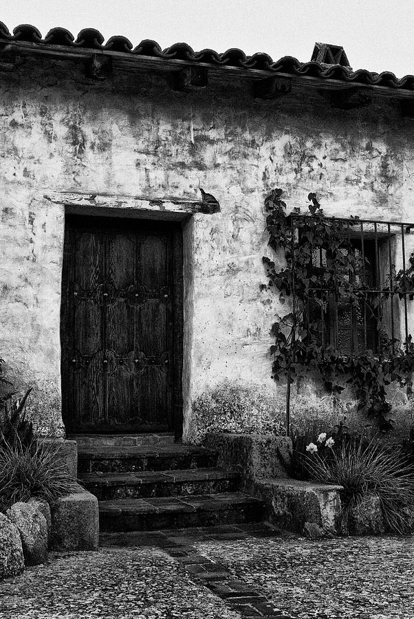 Mission Carmel door in Black and White by Renee Hong