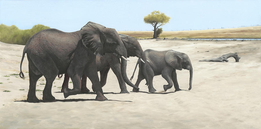Elephants Painting - Mission by Clive Meredith