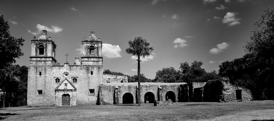 Mission Concepcion Panoramic - Bw Photograph