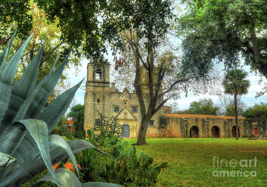 Mission Concepcion with Agave americana by Michael Tidwell
