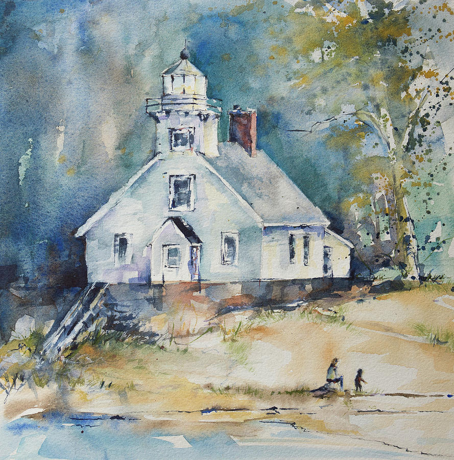 Lighthouse Painting - Mission Point Light by Adam VanHouten
