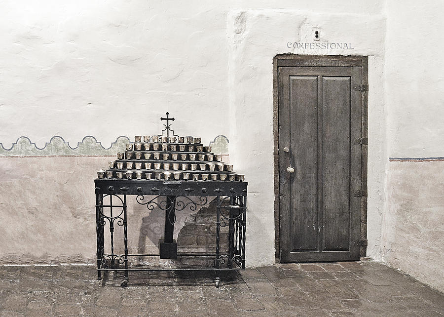 Confessional Photograph - Mission San Diego - Confessional Door by Christine Till