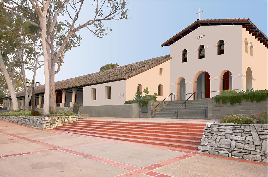 Architecture Digital Art - Mission San Luis Obispo by David Simmer