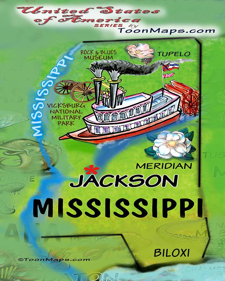 Mississippi Fun Map Digital Art