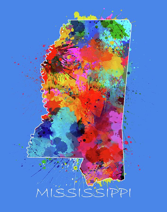 Mississippi Digital Art - Mississippi Map Color Splatter 3 by Bekim M