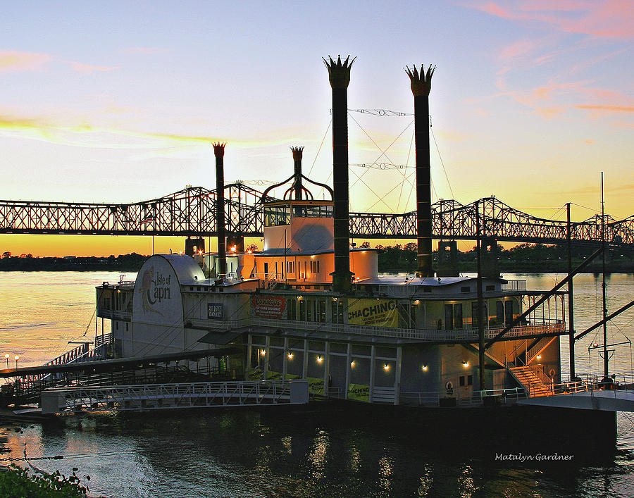 Mississippi Riverboat Sunset by Matalyn Gardner