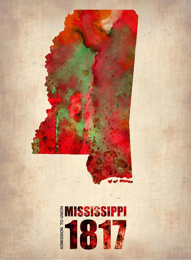 Mississippi Digital Art - Mississippi Watercolor Map by Naxart Studio