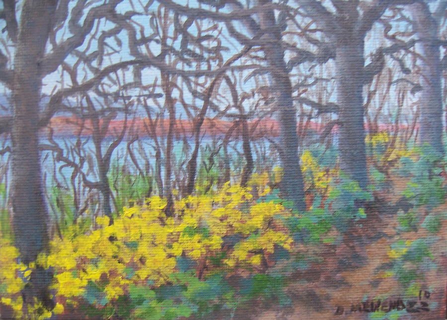 Landscape Painting - Missouri Bluff Trail Along Mississippi by David Menendez