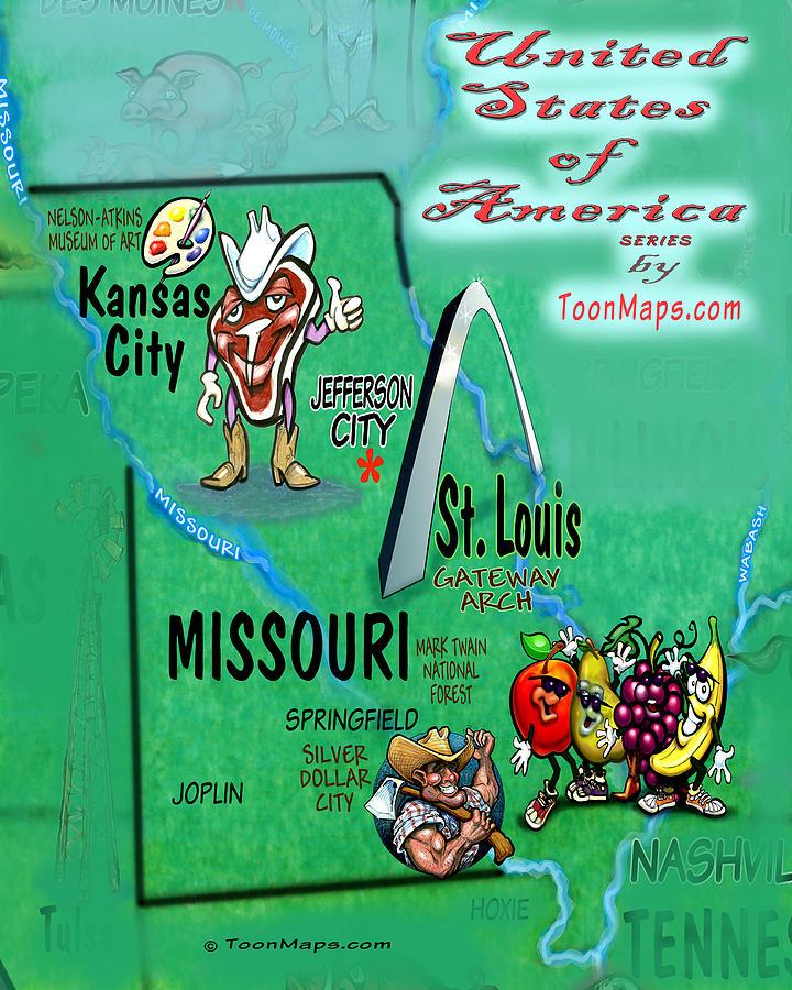Missouri Fun Map Digital Art