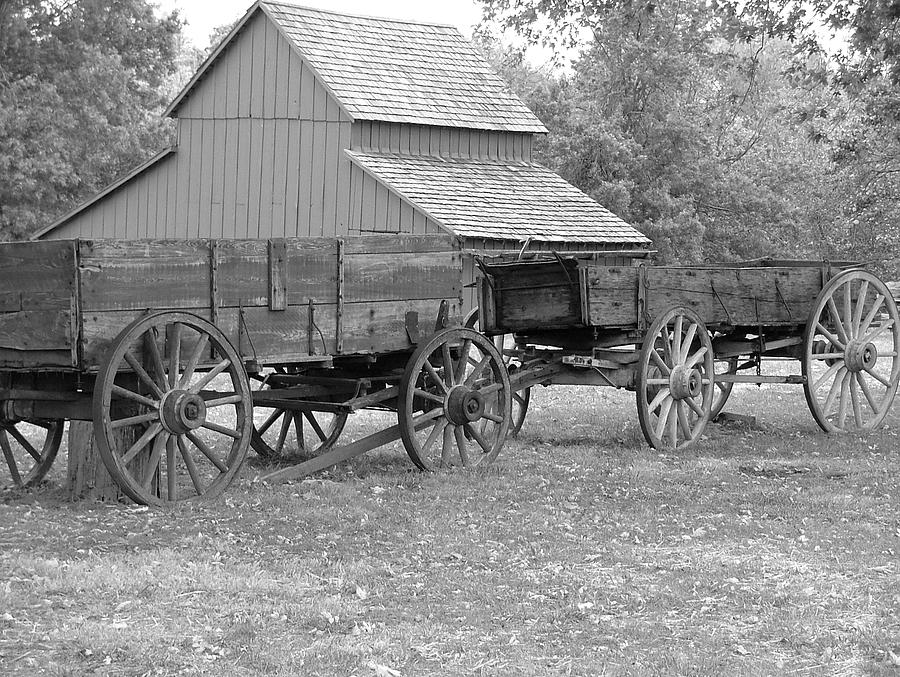 Missouri Town Barn And Wagons Photograph by Christopher Butler
