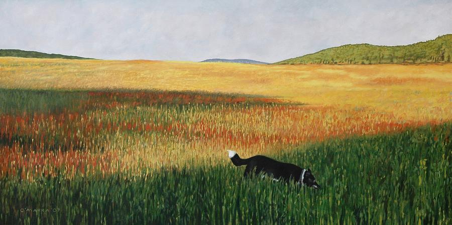 Dog Painting - Missy In The Field by Allan OMarra