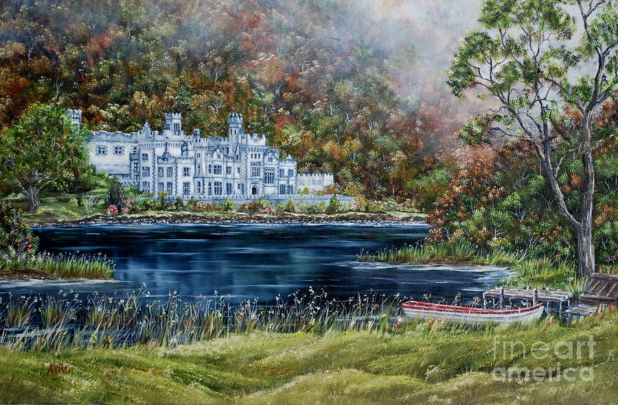 Abbey Painting - Mist Over Kylemore Abbey by Avril Brand