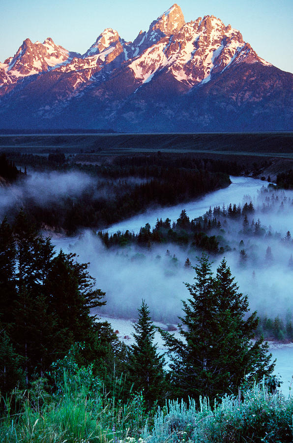 Color Image Photograph - Mist Over Snake River, Sunrise Light by Panoramic Images