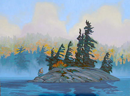 Landscape Painting - Mist Rising Charlton Lake by Paul Gauthier