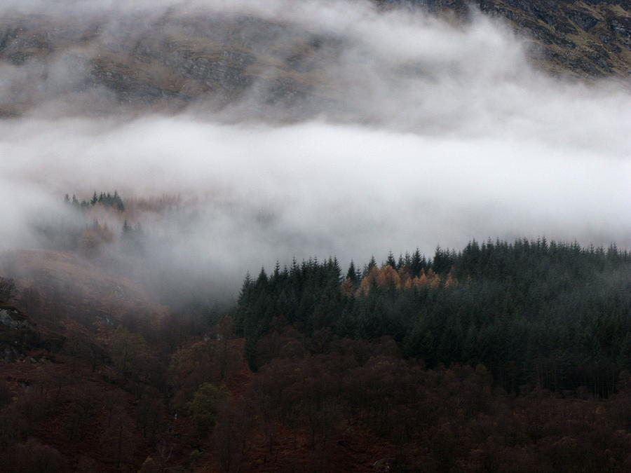 Scotland Photograph - Mist Rolling Down by Maria Joy