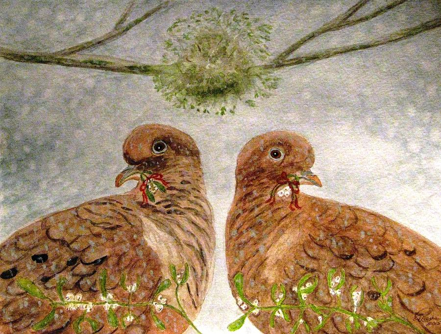 Turtle Doves Painting - Mistletoe Magic by Angela Davies