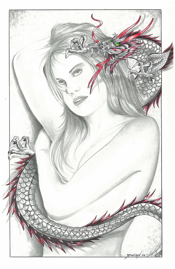 Nude Women Drawing - Mistress Of The Dragon by Julian  B