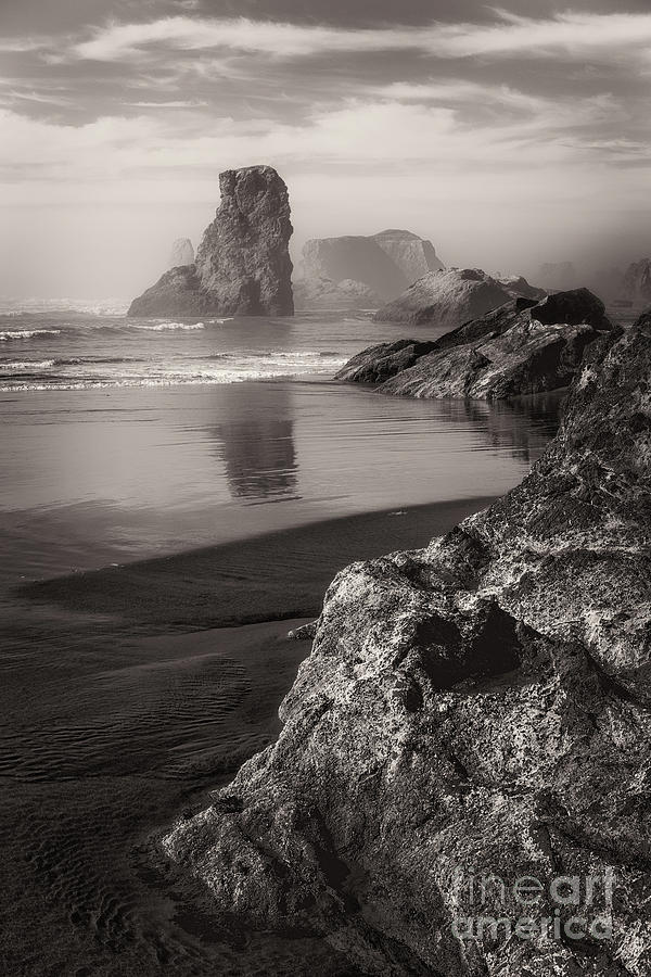 Misty Afternoon At Bandon Beach Toned Photograph