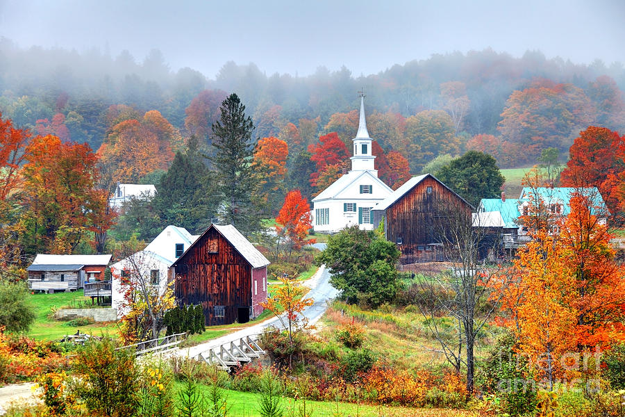 Autumn Photograph - Misty Autumn Foliage in Rural Vermont by Denis Tangney Jr