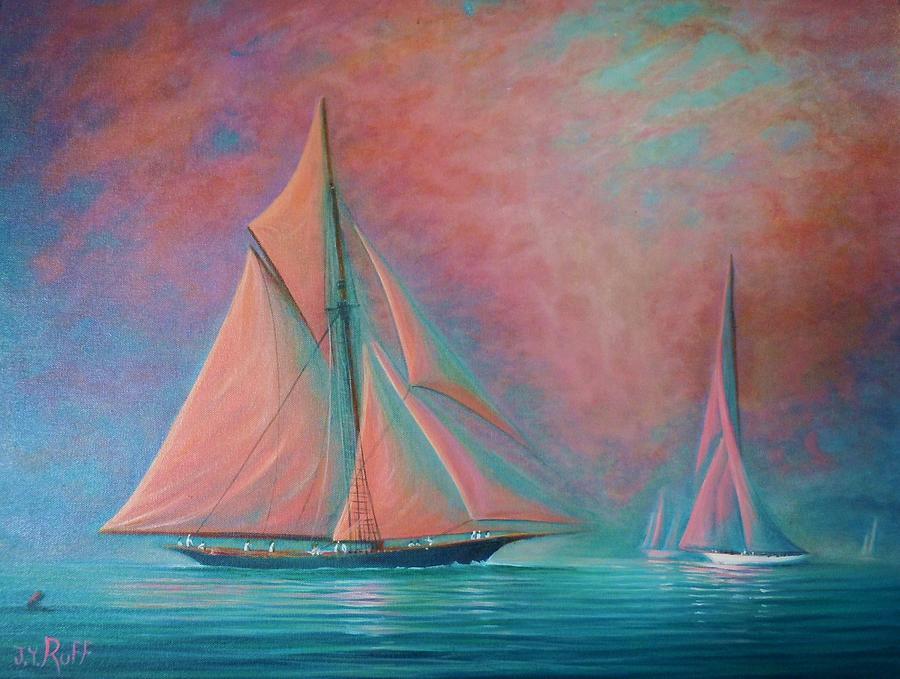 Oil Painting - Misty Bay Rendevous by Joseph   Ruff