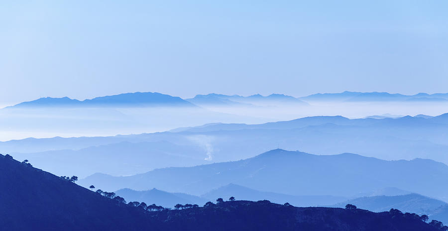 Misty Blue Mountain Panorama by Geoff Smith