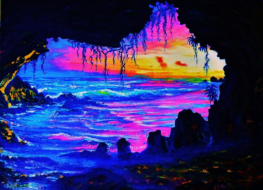 Seascape Painting - Misty Cave Sunset by Joseph   Ruff