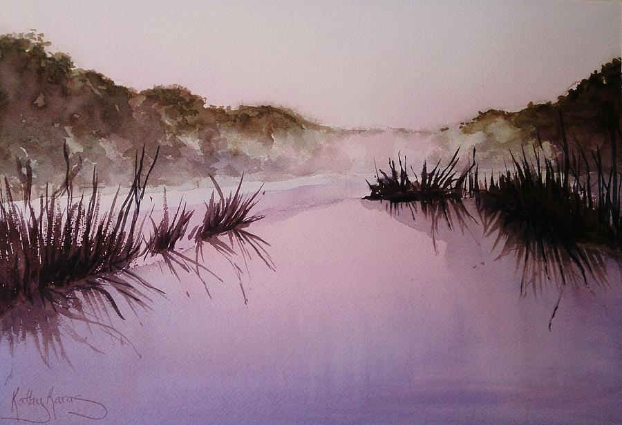 Water Painting - Misty Dawn by Kathy  Karas