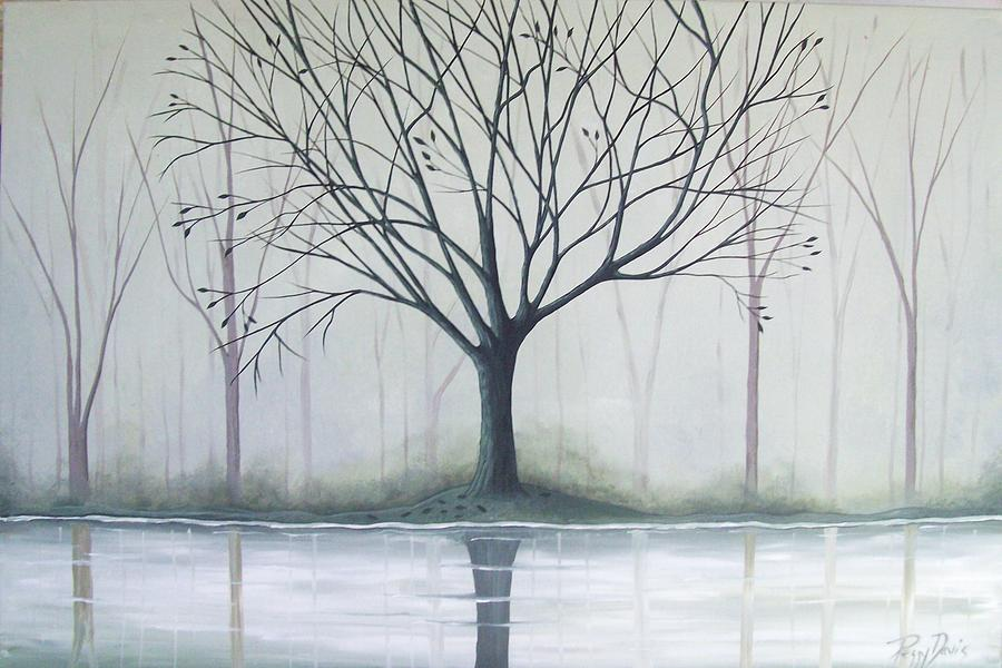 Tree Painting - Misty Green River by Peggy Davis