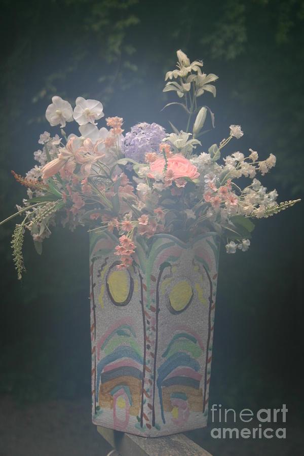 Silk Flowers Photograph - Misty Majolica Vase by Beebe  Barksdale-Bruner