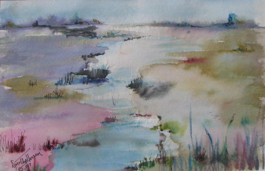 Landscape Painting - Misty Marsh by Dorothy Herron