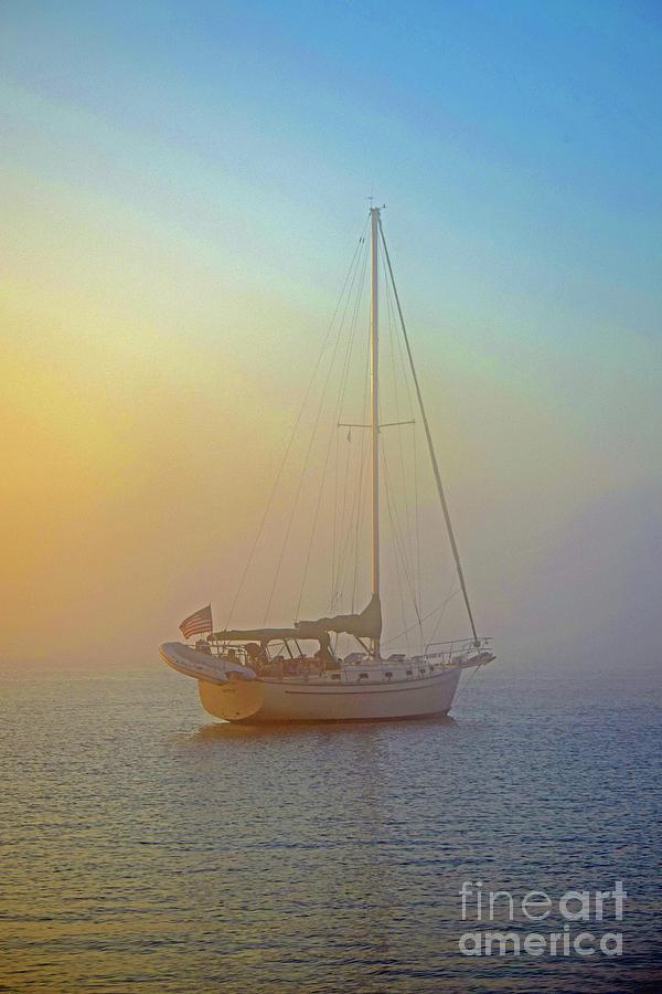 Sail Boat Photograph - Misty Mooring by Charles Norkoli
