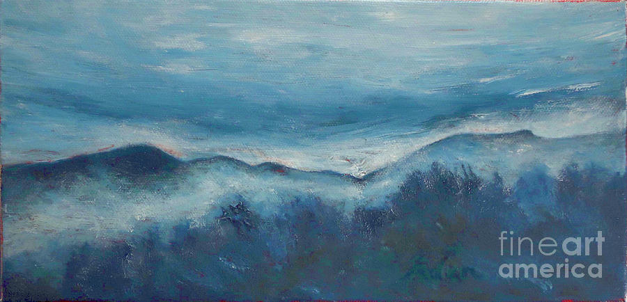 Mount Mansfield Painting - Misty Morning Fog Mount Mansfield Panorama Painting by Felipe Adan Lerma