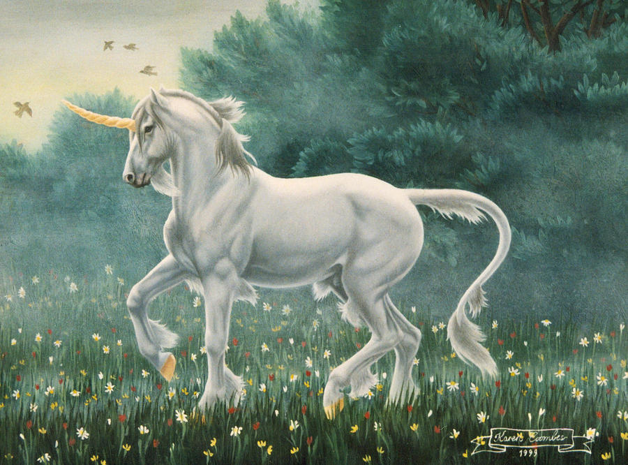 Unicorn Painting - Misty Morning by Karen Coombes