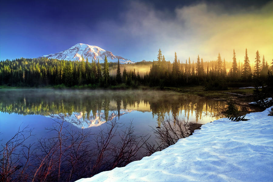 Mountain Photograph - Misty Morning Lake by William Lee