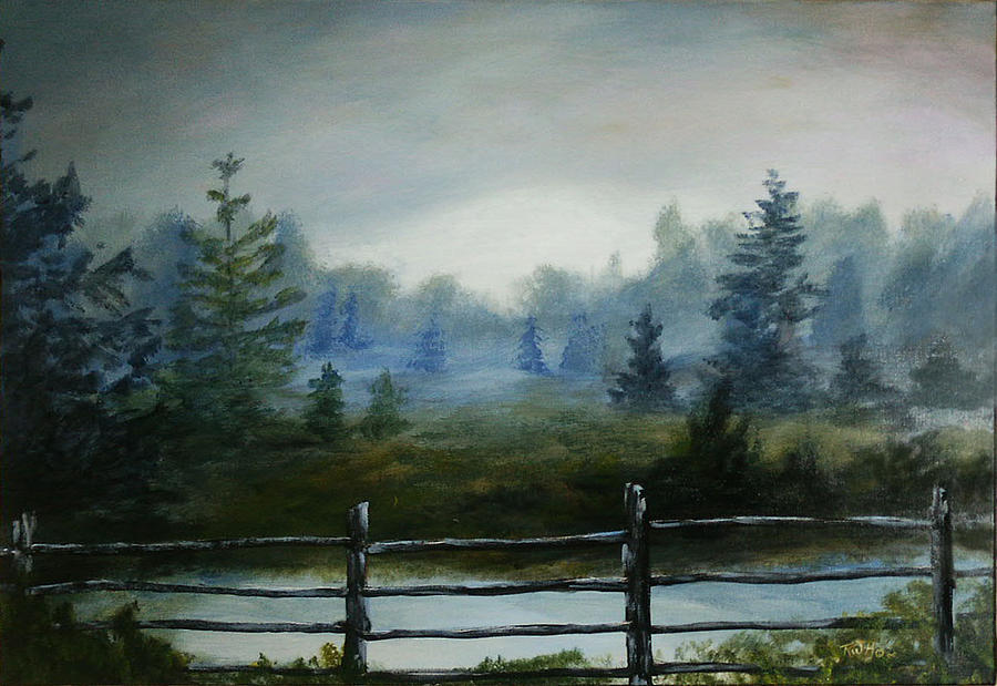 Landscape Painting - Misty Morning by Rusty W Hinshaw