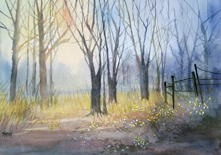 Watercolor Painting - Misty Morning by Ryan Radke