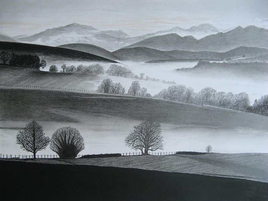 Landscapes Drawing - Misty Morning by Stephen W Keller