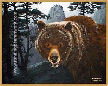 Grizzly Bear Painting - Misty Mountain Grizzly by Michael Meissner