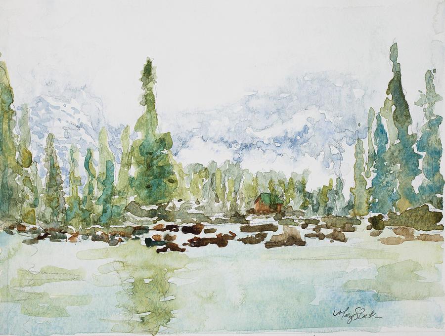Lake Painting - Misty Mountain Lake by Mary Benke