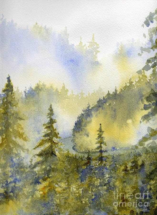 Mountains Painting - Misty Mountain Morning by Lisa Bell
