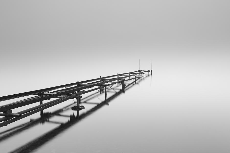 Scottish Landscape Photograph - Misty Pier Loch Lomond by Grant Glendinning