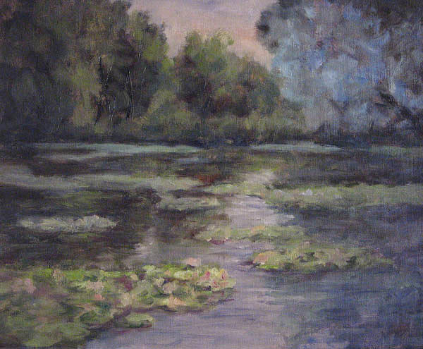 Misty Pond Painting by Suzette Keegan